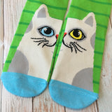 Crew Socks: Cat ~ Blue/Yellow Eyes NEW!