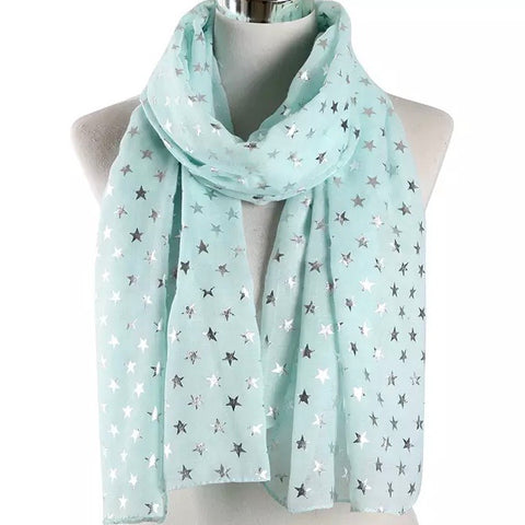 Scarf: Metallic Stars ~ Mint/Silver 🌟 NEW!