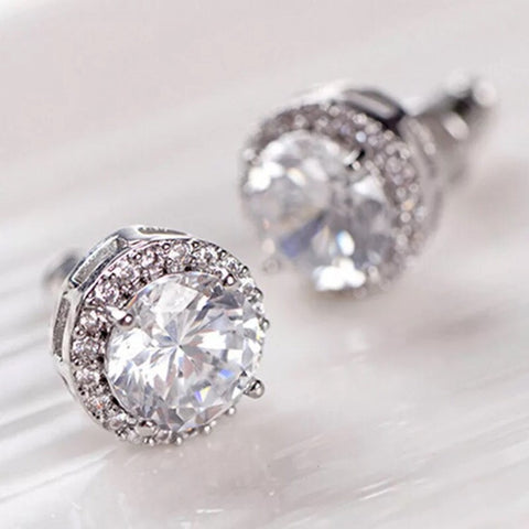 NEW! 18k Earrings: Diva ~ White Gold ~ Clear