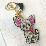 KeyChain / Bag Charm: Chihuahua ~ Sparkle ~ White NEW!