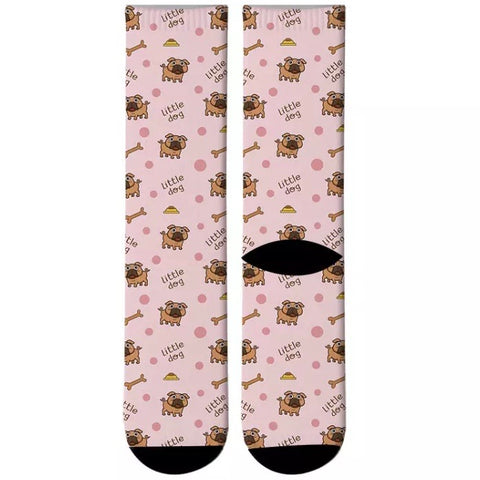 Crew Sock: Little Dog Pugs ~ Pink