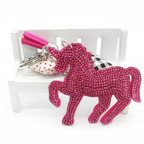 KeyChain / Bag Charm: Sparkle Unicorn ~ Hot Pink