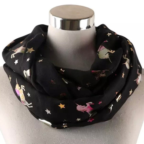 Infinity Scarf: Metallic Unicorns ~ Black/Holo 🌟 NEW