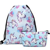 Unicorn Backpack Trio Set! Backpack, Drawstring Bag AND Cosmetic Pouch!