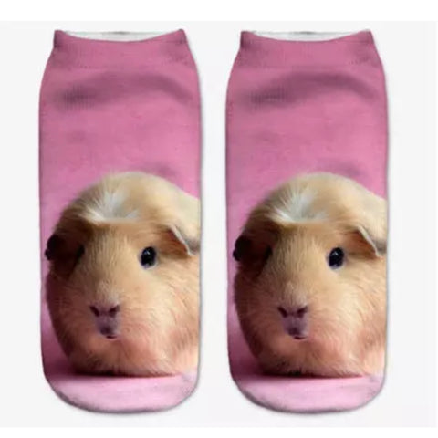 Low/Ankle Socks: Guinea Pigs ~ Pink