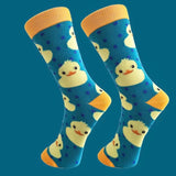 Crew Socks: Ducky ~ Teal/Yellow 💛 NEW!