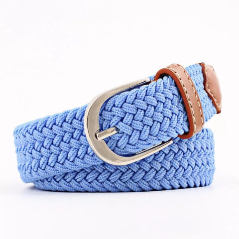 Belt: Woven Elastic ~ Sky Blue with Tan