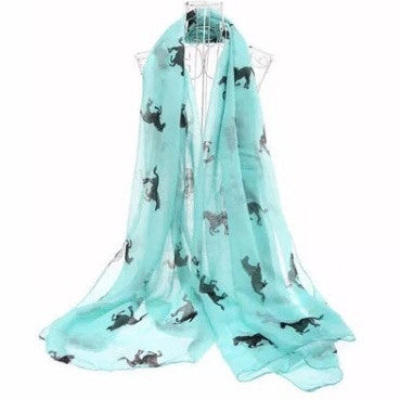 Scarf: Ponies - Black on Turquoise