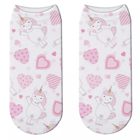 Low/Ankle Socks: Unicorn ~ Pink/Hearts 💕 NEW!