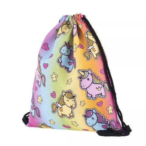 Drawstring Bag : Rainbow Unicorn
