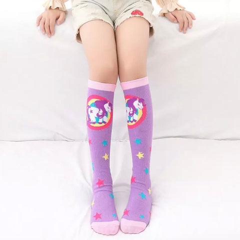 *Boot Socks: Youth Girls ~ Unicorn Lilac Stars ~ NEW