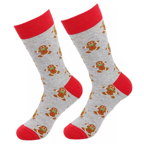 Crew Socks: Christmas ~ Gingerbread People Gray/Red ~ CLEARANCE