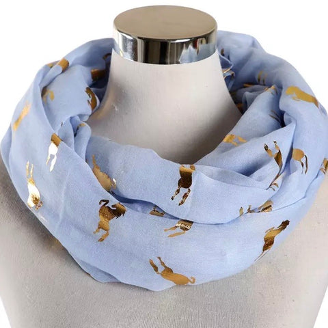 Infinity Scarf: Metallic Horses ~ Sky/Gold 💙 NEW!