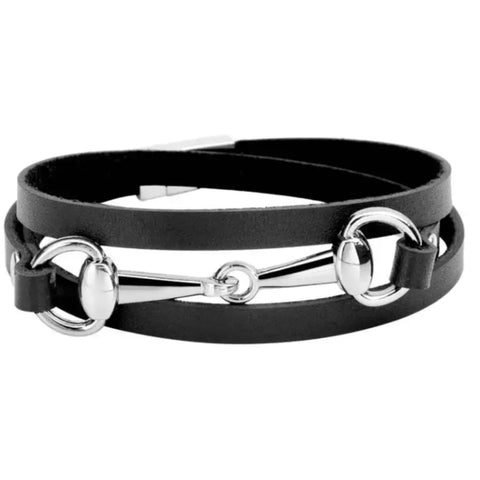 Bracelet: Snaffle ~ Wrap ~ Black/Silver NEW
