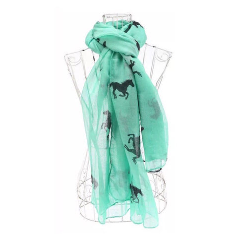 Scarf: Ponies - Black on Mint