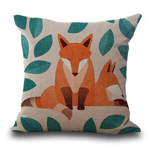 Décor: Throw Pillow Cover ~ Fox ~ Falling Leaves