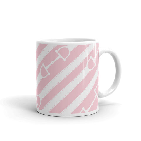 "Mug: ""Palm Beach Ponies"" Collection ~ Bits & Reins ~ White on Pink"