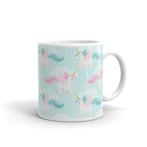 """Pastel Unicorns"" Collection: Mug ~ Unicorn Clouds ~ Blue"