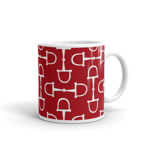 """Prepster Ponies"" Collection: Mug ~ Snaffles ~ White on Red"