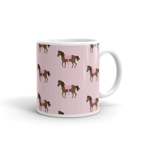 """Equestrienne"" Collection: Mug ~ Bay Ponies on Pink"