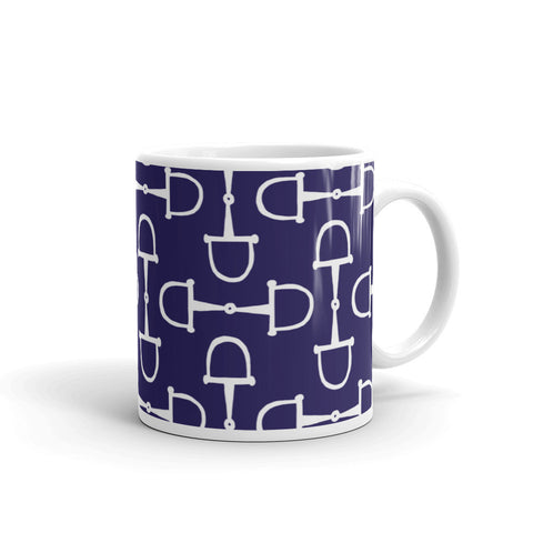 """Prepster Ponies"" Collection: Mug ~ Snaffles ~ White on Navy"