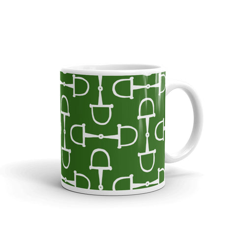 """Prepster Ponies"" Collection: Mug ~ Snaffles ~ White on Green"