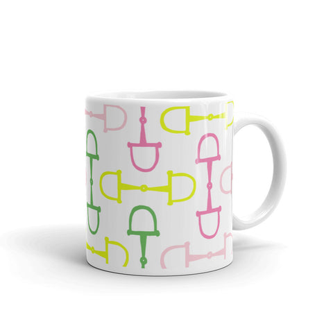 "Mug: ""Palm Beach Ponies"" Collection ~ Snaffles ~ Multi on White"
