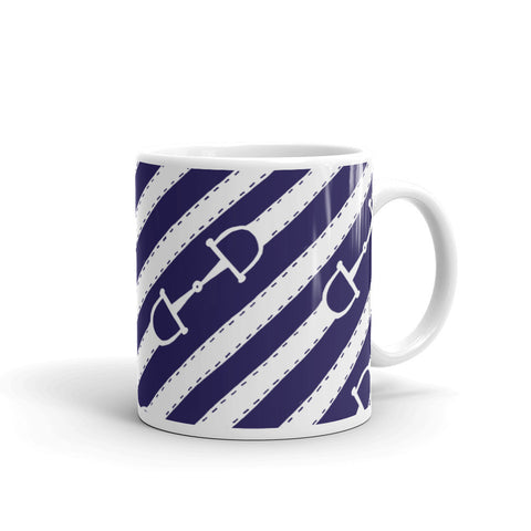 """Prepster Ponies"" Collection: Mug ~ Bits & Reins ~ White on Navy"