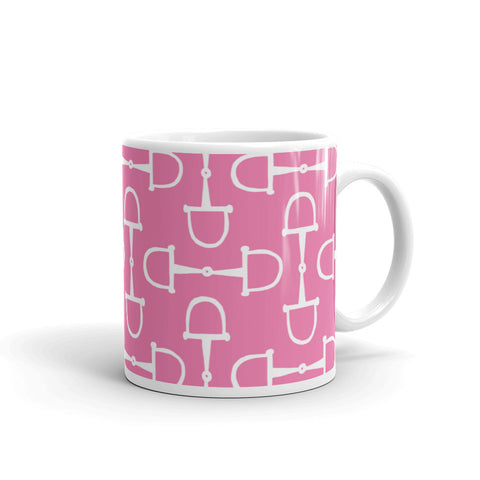 "Mug: ""Palm Beach Ponies"" Collection ~ Snaffles ~ White on Pink"