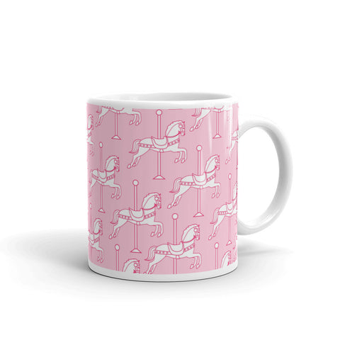 """Carousel"" Collection: Mug ~ White on Pink"