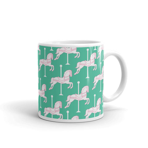 """Carousel"" Collection: Mug ~ White on Teal"