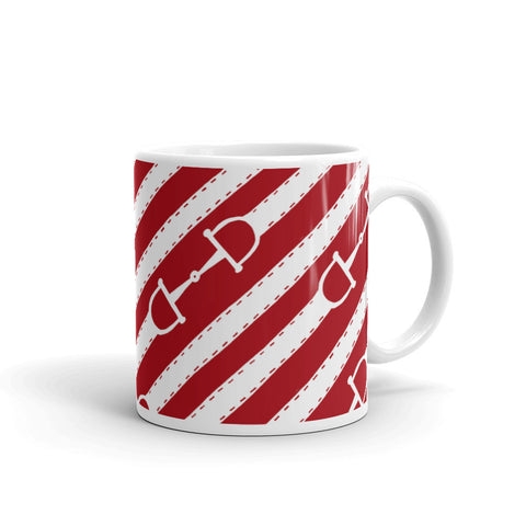 """Prepster Ponies"" Collection: Mug ~ Bits & Reins ~ White on Red"