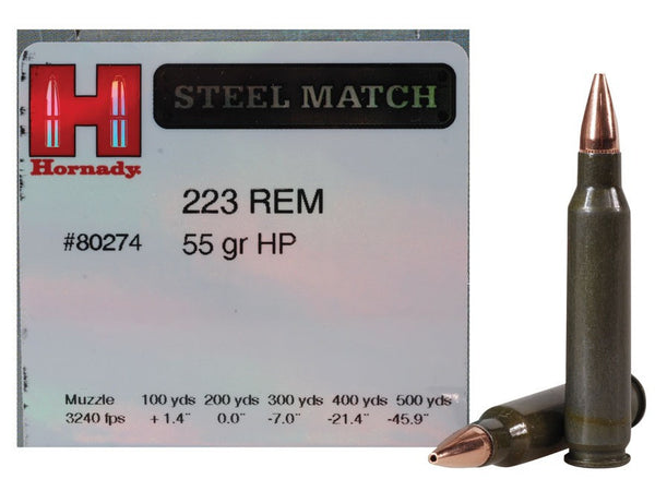 HORNADY STEEL MATCH .223 REM 55GR HP #80274-High Falls Outfitters