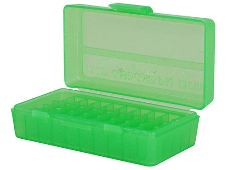 MTM FLIPTOP PISTOL AMMO CASE 50 RD - CLEAR GREEN-High Falls Outfitters