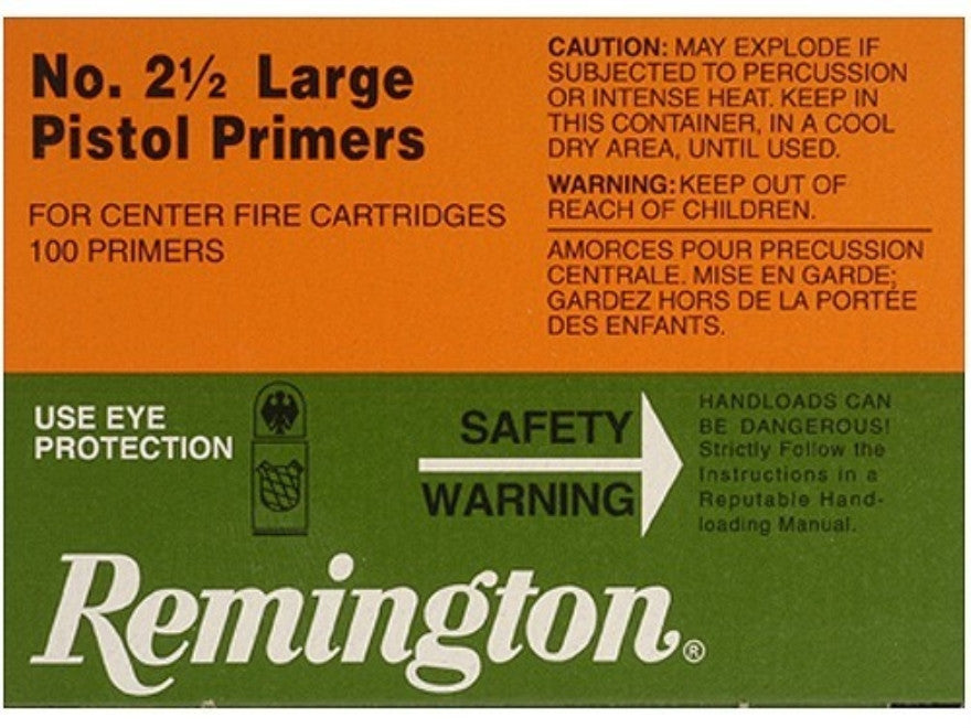 REMINGTON NO. 2 1/2 LARGE PISTOL PRIMERS 100 PACK-High Falls Outfitters