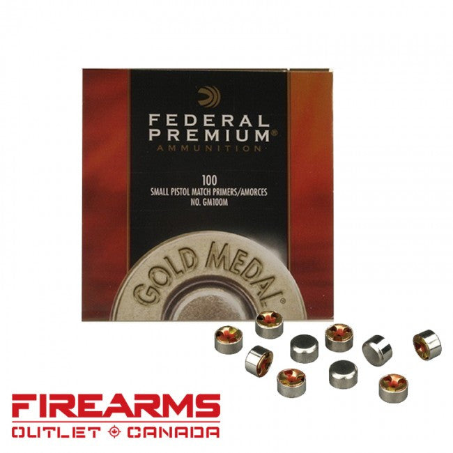 FEDERAL PREMIUM SMALL PISTOL MATCH PRIMERS 100 QTY-High Falls Outfitters