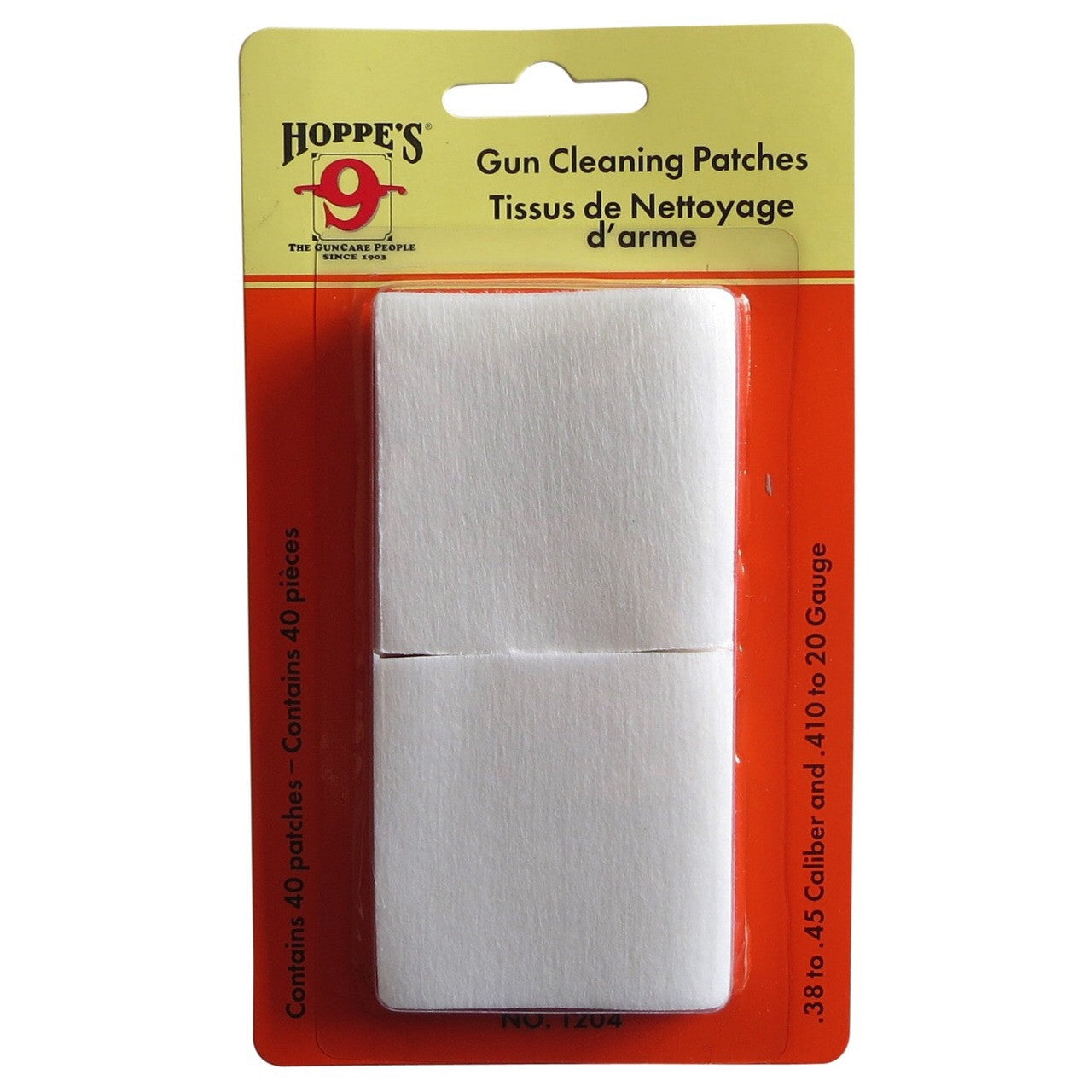 Hoppes CLEANING PATCHES .38-.45CAL AND .410 - 20 GUAGE-High Falls Outfitters