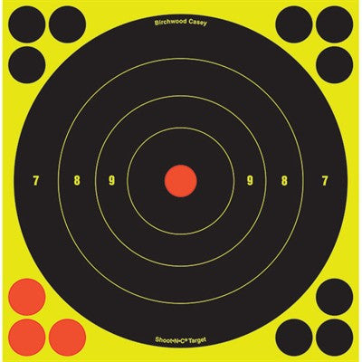 Birchwood Casey Shoot-N-C TQ4-6 Target 8 Round Bullseye 6/Pack 34805-6-High Falls Outfitters