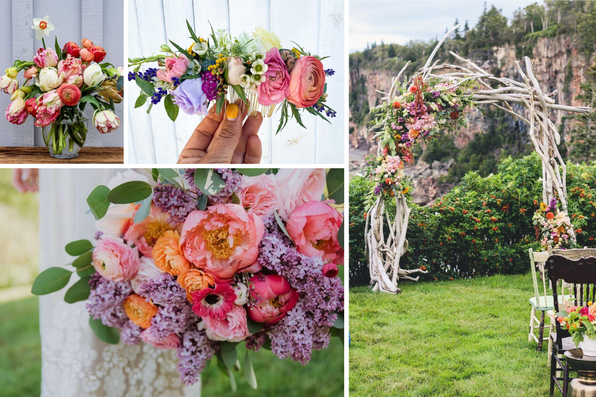 Montage of floral work