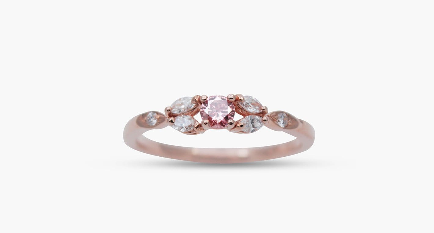 Round Pink Diamond Ring, 0.11ct - Far East Gems & Jewellery