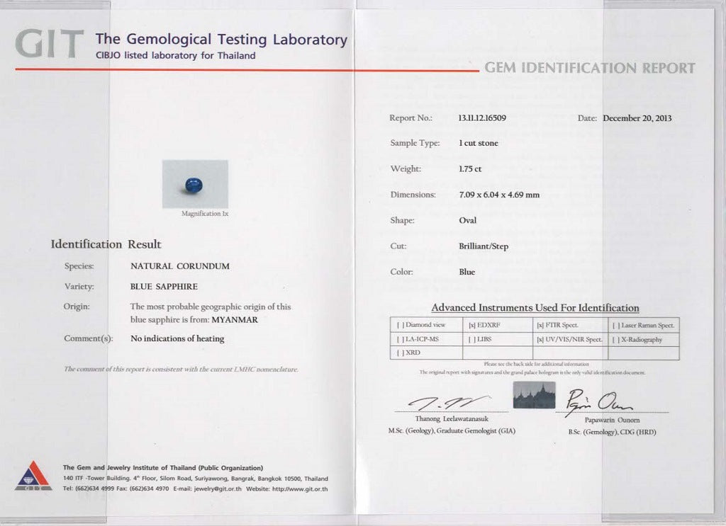 GIT certificate of 1.75ct Blue sapphire