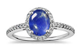 1.36ct burma star sapphire idea set in 18k white gold ring with diamonds