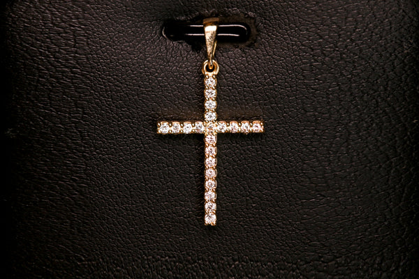 Yellow Gold Cross Pendant with Diamonds 18K - Far East Gems & Jewellery