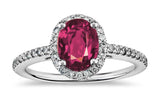 2.01ct pink sapphire idea set in 18k white gold ring with diamonds