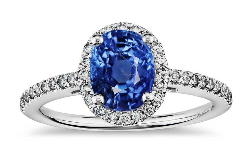 1.75ct Burma Unheated Sapphire idea in 18k white gold ring with diamonds