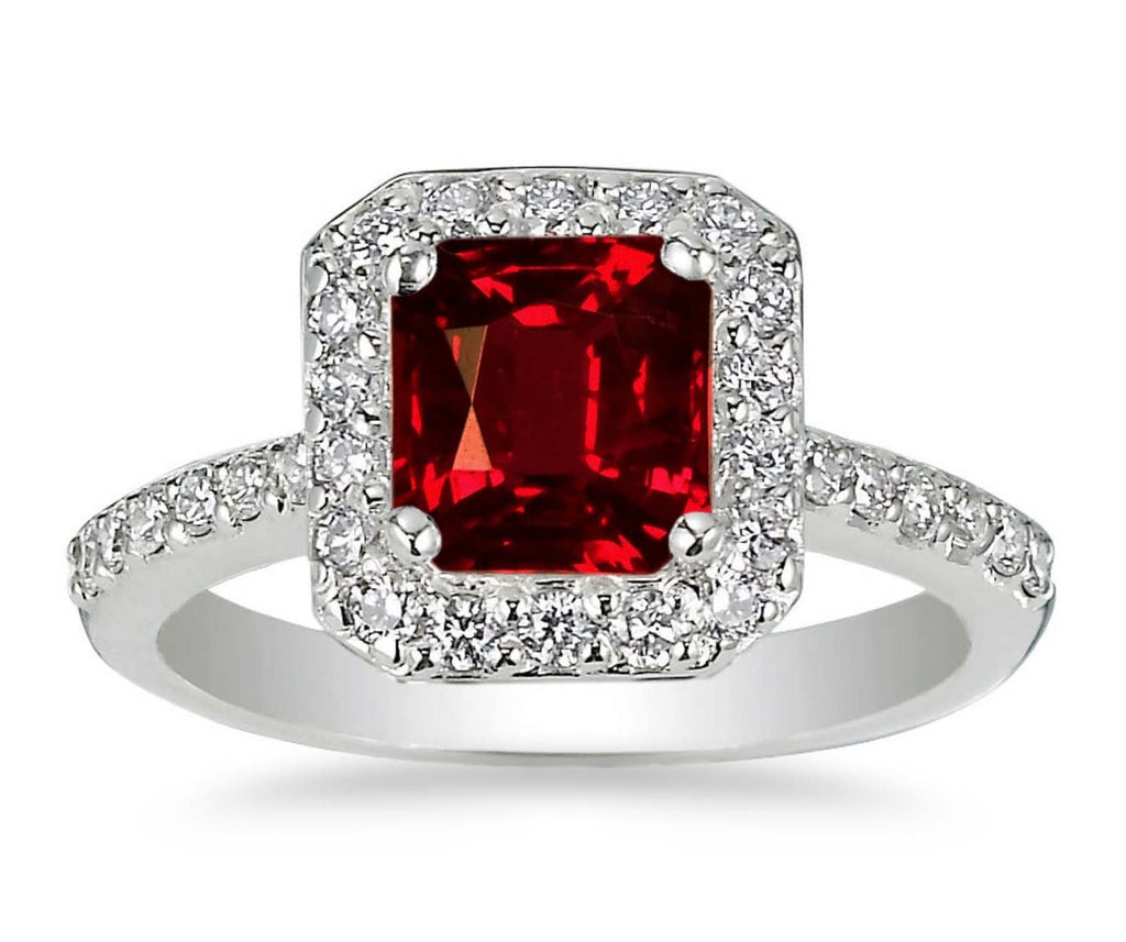 0.77ct Octagon cut Ruby in a ring