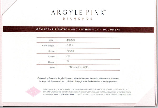 Argyle Pink Diamonds, 0.21ct - Far East Gems & Jewellery