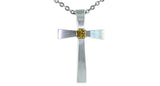 0.22ct Fancy Deep Orangy Yellow Diamond Cross Pendant with chain - Far East Gems & Jewellery