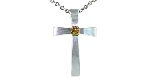 Fancy Deep Orangy Yellow Diamond Cross Pendant with chain - Far East Gems & Jewellery