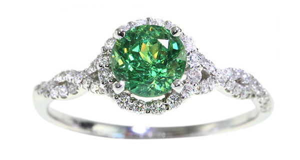 1.30ct Demantoid Garnet Ring